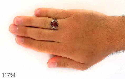انگشتر عقیق قرمز برجسته مردانه - عکس 7