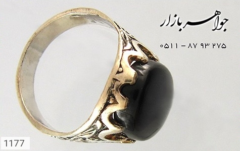 انگشتر عقیق سیاه درشت مردانه - عکس 1