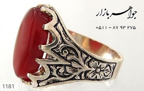 انگشتر عقیق قرمز درشت مردانه - عکس 1