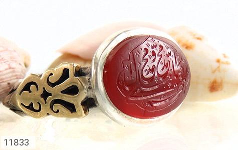 انگشتر عقیق یمن حکاکی صلوات استاد هو رکاب دست ساز - عکس 5
