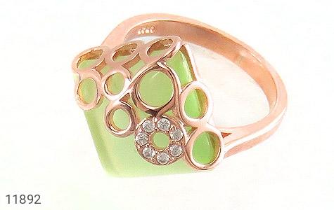 انگشتر چشم گربه سبز باشکوه زنانه - عکس 1