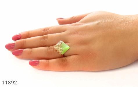 انگشتر چشم گربه سبز باشکوه زنانه - عکس 7