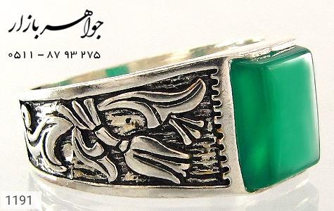 انگشتر عقیق سبز سیاه قلم - تصویر 2