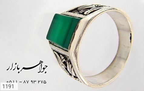 انگشتر عقیق سبز سیاه قلم - عکس 3
