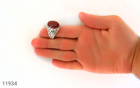 انگشتر زمرد و عقیق یمن رکاب دست ساز - تصویر 8