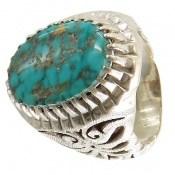 انگشتر فیروزه نیشابوری خوش رنگ شجر درشت مردانه