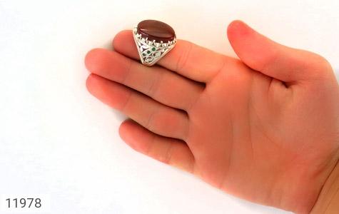 انگشتر زمرد و عقیق یمن رکاب دست ساز - عکس 9