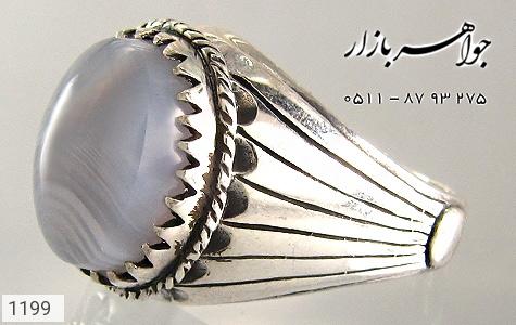 انگشتر عقیق کبود طرح ابروباد مردانه - تصویر 2