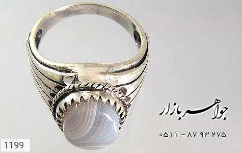 انگشتر عقیق کبود طرح ابروباد مردانه - تصویر 4