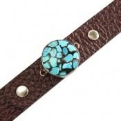 دستبند نقره و چرم و فیروزه نیشابوری ترکیبی