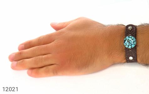 دستبند نقره و چرم و فیروزه نیشابوری دست ساز - تصویر 8