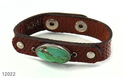 دستبند چرم و نقره و فیروزه نیشابوری دست ساز - تصویر 2