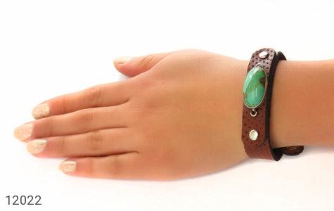 دستبند چرم و نقره و فیروزه نیشابوری دست ساز - عکس 7