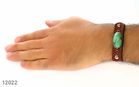 دستبند چرم و نقره و فیروزه نیشابوری دست ساز - تصویر 8