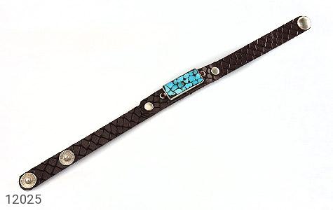 دستبند چرم و نقره و فیروزه نیشابوری دست ساز - عکس 1