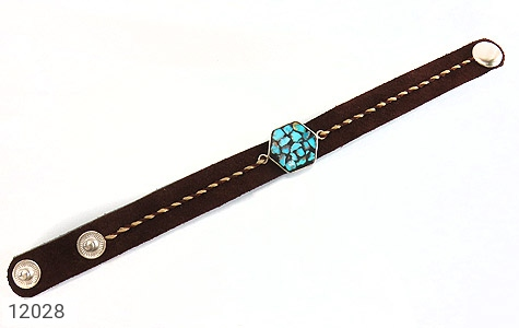 دستبند نقره و چرم و فیروزه نیشابوری دست ساز - عکس 1
