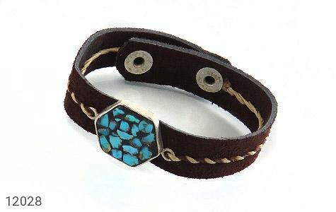 دستبند نقره و چرم و فیروزه نیشابوری دست ساز - تصویر 2