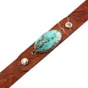 دستبند چرم و نقره و فیروزه نیشابوری شجر