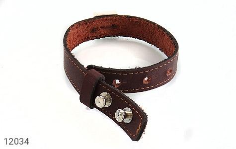 دستبند چرم و نقره و فیروزه نیشابوری دست ساز - عکس 3