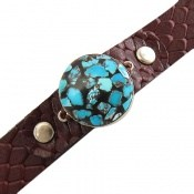 دستبند چرم و نقره و فیروزه نیشابوری ترکیبی