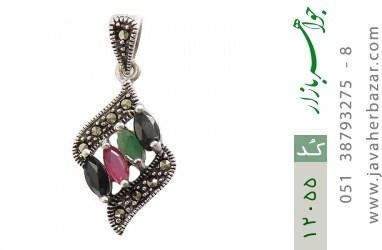 مدال مارکازیت و زمرد و یاقوت خوش رنگ طرح ویشکا زنانه - کد 12055