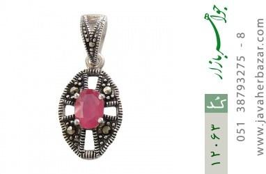 مدال مارکازیت و یاقوت سرخ طرح آیگین زنانه - کد 12063