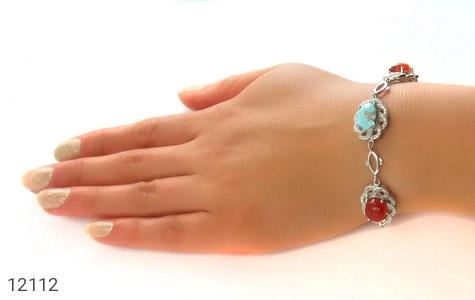 دستبند فیروزه و عقیق یمن - عکس 5