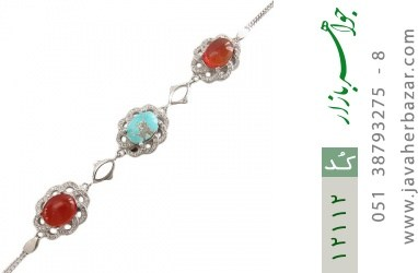 دستبند فیروزه و عقیق یمن - کد 12112