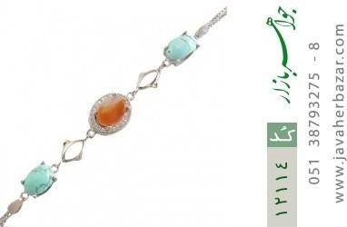 دستبند عقیق و فیروزه نیشابوری - کد 12114