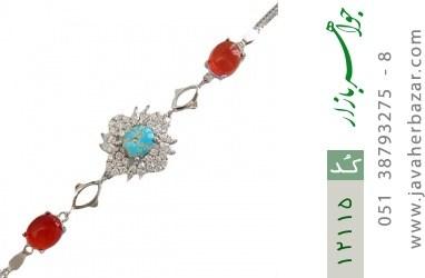 دستبند فیروزه و عقیق یمن - کد 12115