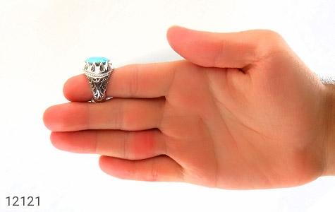 انگشتر فیروزه نیشابوری رکاب دست ساز - تصویر 8