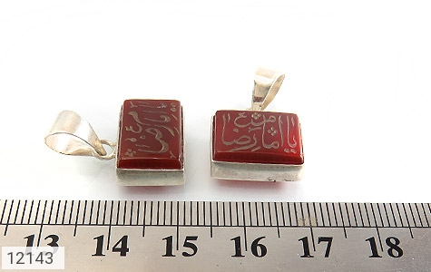 مدال عقیق حکاکی یا امام رضا (ع) فریم دست ساز - تصویر 6