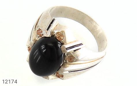 انگشتر عقیق سیاه درشت طرح تابان مردانه - عکس 1