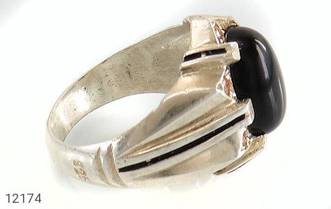 انگشتر عقیق سیاه درشت طرح تابان مردانه - عکس 3