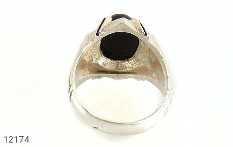 انگشتر عقیق سیاه درشت طرح تابان مردانه - تصویر 4