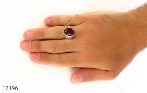 انگشتر عقیق قرمز رکاب شبکه و جذاب مردانه - عکس 7