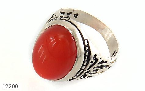 انگشتر عقیق قرمز درشت طرح پاشا مردانه - عکس 1