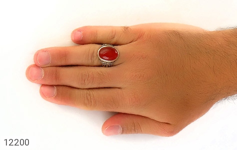 انگشتر عقیق قرمز درشت طرح پاشا مردانه - تصویر 8