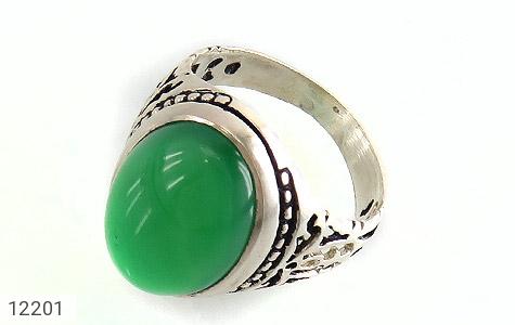 انگشتر عقیق سبز درشت طرح پاشا مردانه - عکس 1