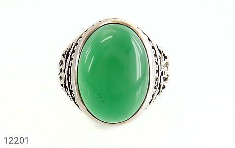 انگشتر عقیق سبز درشت طرح پاشا مردانه - تصویر 2