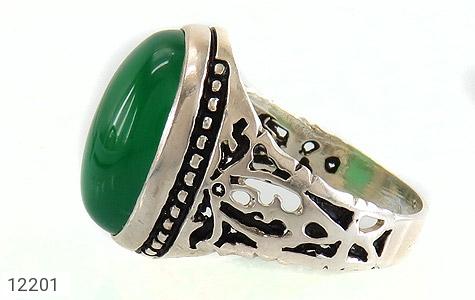 انگشتر عقیق سبز درشت طرح پاشا مردانه - عکس 3