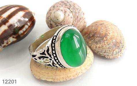 انگشتر عقیق سبز درشت طرح پاشا مردانه - تصویر 6
