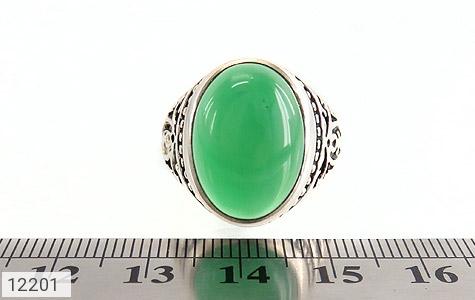 انگشتر عقیق سبز درشت طرح پاشا مردانه - عکس 7