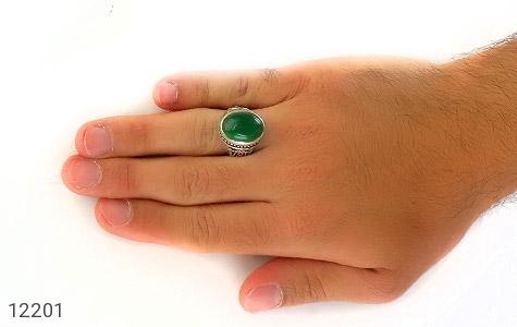 انگشتر عقیق سبز درشت طرح پاشا مردانه - تصویر 8
