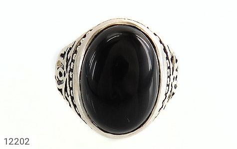انگشتر عقیق سیاه درشت طرح پاشا مردانه - تصویر 2