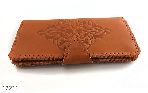 کیف چرم طبیعی طرح دار دکمه ای زنانه - تصویر 2