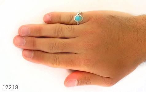 انگشتر فیروزه نیشابوری رکاب دست ساز - عکس 7