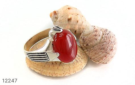 انگشتر عقیق قرمز درشت چهارچنگ مردانه - تصویر 6