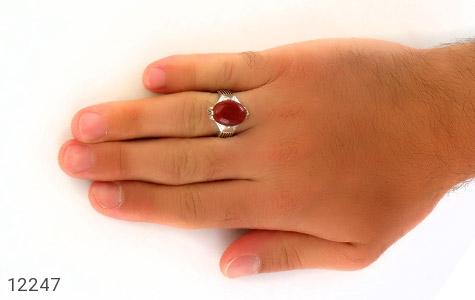 انگشتر عقیق قرمز درشت چهارچنگ مردانه - تصویر 8
