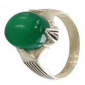انگشتر عقیق سبز درشت چهارچنگ مردانه